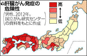 乳がんは東京で突出、肝臓がんは西日本に偏在…発症に地域差