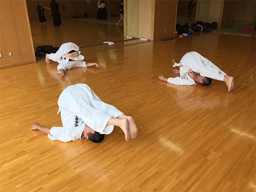 武道的な稽古後に行うヨガの動き。深い呼吸に合わせて、ゆっくりと体を動かします。心体育道の裏の捌きでは、ポーズ(ヨガではアーサナと呼ぶ)の名前は特に言いませんが、ヨガでは一般的に鋤(すき)のポーズと呼ばれます。