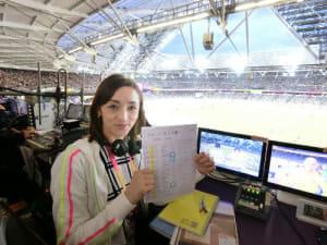 ロンドンのオリンピック・スタジアムの放送席。女子ハンマー投げ、円盤投げ、やり投げ、男子ハンマー投げの競技解説を行いました