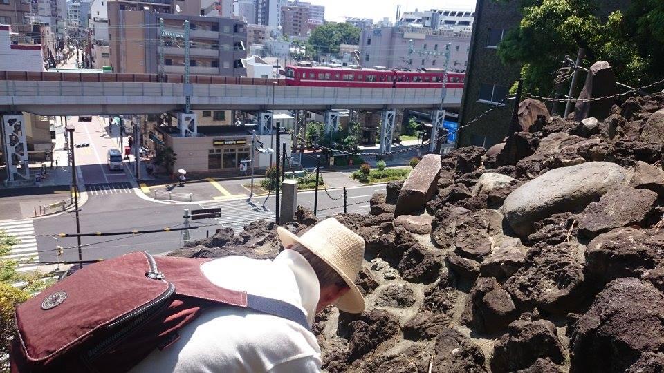 品川神社にある富士塚を登る