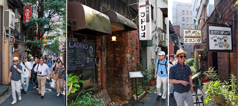 「さぼうる」や「ラドリオ」「ミロンガ」などの小さな古典喫茶が並ぶ路地