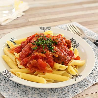 イワシ缶のトマトパスタ