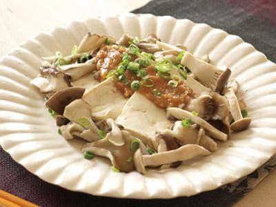 キノコと豆腐の焼きみそだれ