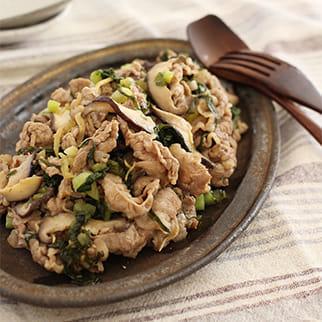牛肉と野沢菜のジンジャー炒め