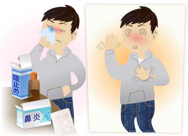 インフルと花粉症が重なり、咳止めと鼻炎薬を併用したら胸がドキドキ