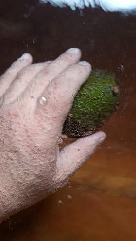 湯口に手の甲をかざすと、ものの5秒で泡だらけ