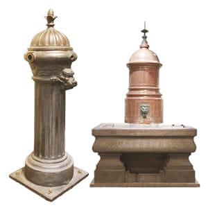 (左)馬の水飲み場が設けられた「馬水槽」 (右)水の出口が竜をかたどっている「蛇体鉄柱式共用栓」
