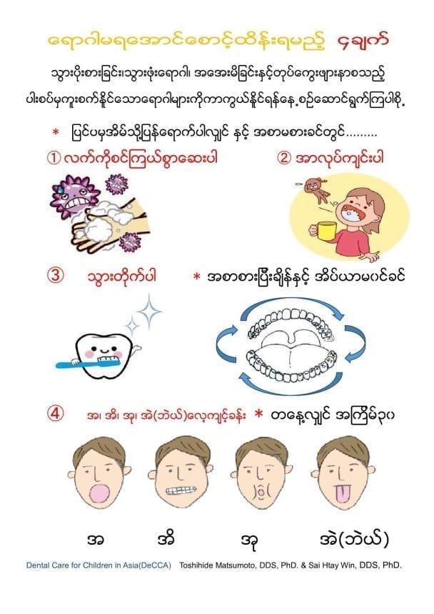ミャンマー語で配布している4つの約束のチラシ