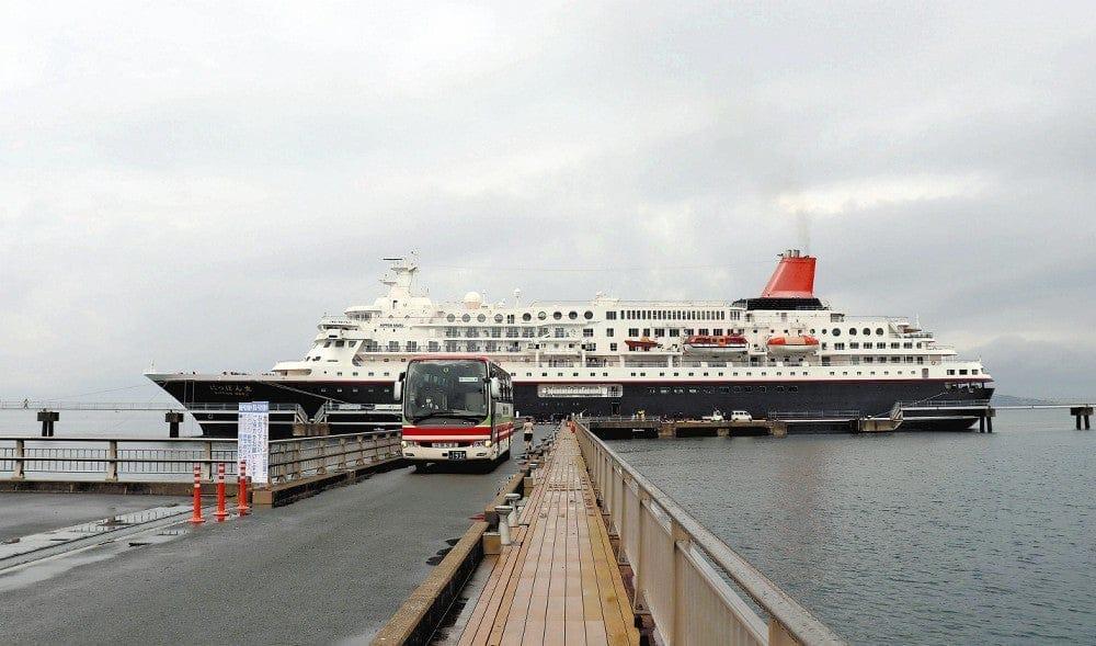 クルーズ船の運航再開後、初めて館山港に寄港した「にっぽん丸」(3日、館山市で)