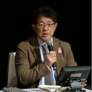 講演する久野譜也・筑波大教授