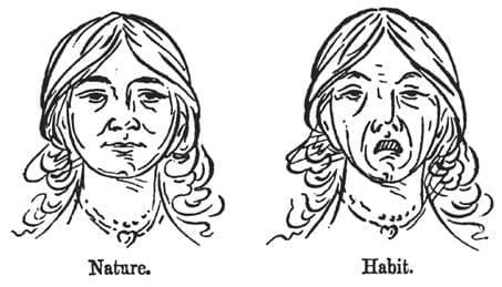 左は鼻呼吸の人の顔。右は口呼吸で寝相が悪い人の顔(カトリンの著書より)