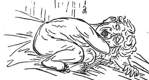 横向き寝で口を開けて、腕枕の状態で寝ている様子(カトリンの著書より)