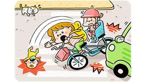 5か月男児を負ぶった母親の自転車が車と接触 頭から落ちて脳挫傷に
