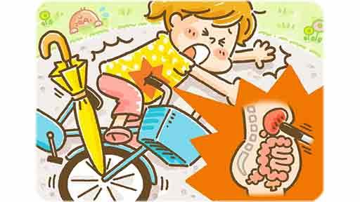 自転車のハンドルで強打し肝臓損傷した11歳女児 転倒の原因は「傘」