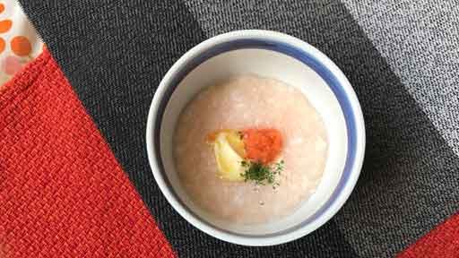 洋風明太子粥…お粥をおいしくエネルギーアップ
