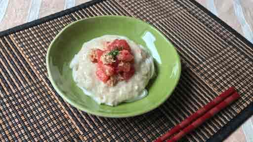トマトととろろのあえ麺…そうめんを食べやすく