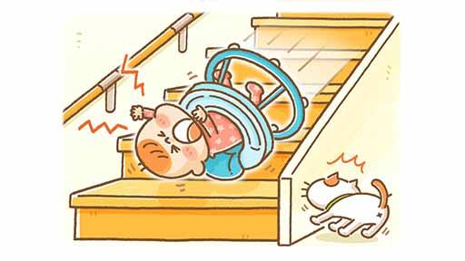 動かないと思ったが…6か月女児が歩行器のまま階段を13段落ち頭骨骨折 事故はなぜ起きた?