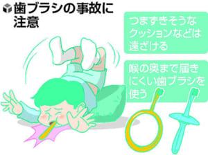 口の中の健康(5)歯ブラシくわえ転倒 注意